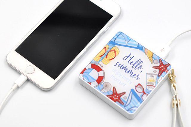 PSEマーク付きの両面印刷可能なスクエア型モバイルバッテリー